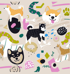 Cute dogs seamless pattern childish background vector