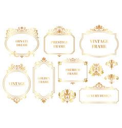 damask ornamental frames antique baroque floral vector image