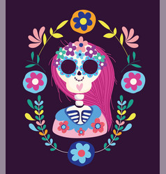day dead female skeleton flowers folklore vector image