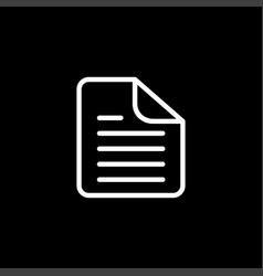 document line icon on black background black flat vector image