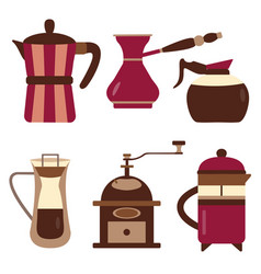 drip coffee makers and devices icons vector image