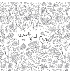 Ethnic floral thank you card vector