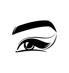 Eye eyelashes eyebrow - flat logo isolated on vector