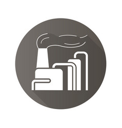 factory with smoke flat design long shadow icon vector image