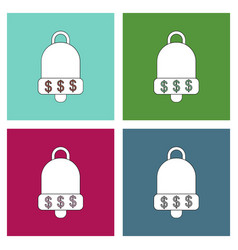 Flat icon design collection bell with dollar vector