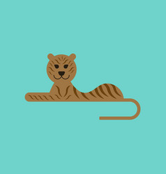 Flat icon on background cartoon tiger vector