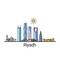 Flat line riyadh banner vector