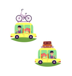 Flat people travelling in car set isolated vector
