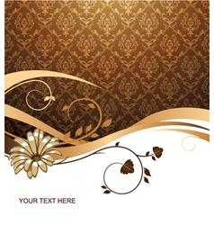 flower with damask background vector image