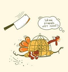 go vegan thanksgiving turkey bird runs away from vector image
