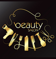 golden beauty salon with hair care tool vector image
