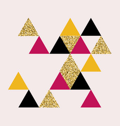 golden pink black triangles geometric background vector image