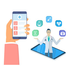 hand holding phone with medical app isometric vector image