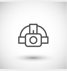 Head flashlight line icon vector