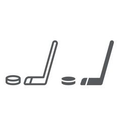 hockey line and glyph icon game and sport hockey vector image