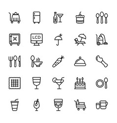 Hotel line icons 6 vector