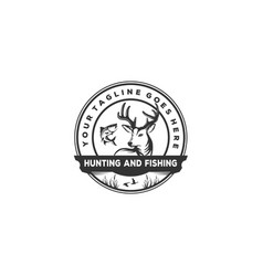 Hunting and fishing background vintage idea with vector