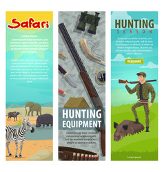 Hunting club open season safari banners vector