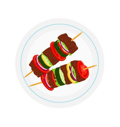 Kebabs on plate roasted meat - lamb pork vector