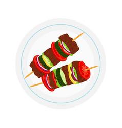 kebabs on plate roasted meat - lamb pork vector image