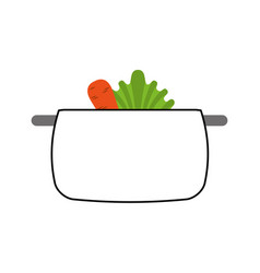 kitchen pot with vegetables isolated icon vector image