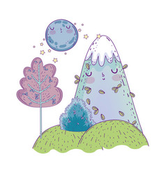 landscape night with moon and mountain kawaii vector image