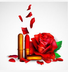 lipstick and flowers background for banner vector image