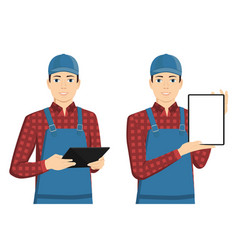 man with a tablet computer vector image