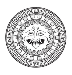 Medusa gorgon head on a shield hand drawn line art vector