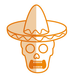 Mexican mariachi skull character vector