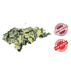military camouflage collage of map of honduras and vector image