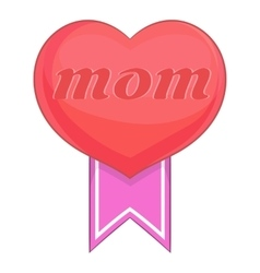 Mothers Day heart icon cartoon style vector