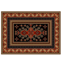 Motley carpet with ethnic ornaments and black mid vector