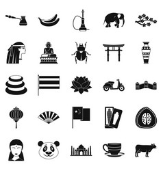 Mysteries of asia icons set simple style vector