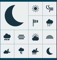 Nature icons set collection of sun breeze vector