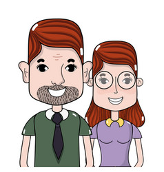 Nice couple with hairstyle and casual clothes vector