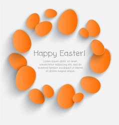 orange eggs happy easter card poster vector image