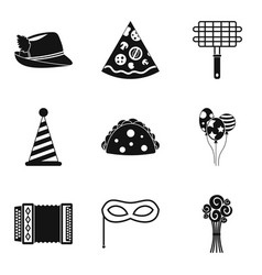 Partying icons set simple style vector