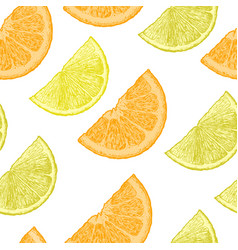 pattern with lemon and orange wedges vector image