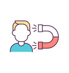 Person magnet rgb color icon vector