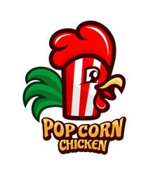 pop corn chicken logo vector image