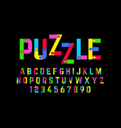 Puzzle font jigsaw alphabet and numbers vector