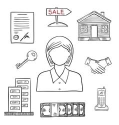 Realtor profession sketch for real estate design vector image