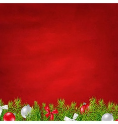 Retro Red Background And Fir Tree Border vector image