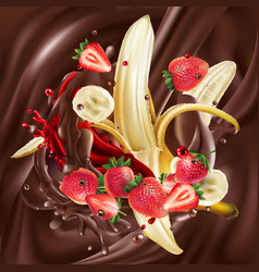 ripe bananas and strawberries in liquid chocolate vector image