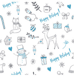seamless pattern with cute christmas elements vector image