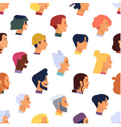 seamless pattern with heads young and elderly vector image