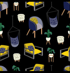 seamless pattern with interior elements armchairs vector image