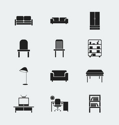 Set of 12 editable interior icons includes vector
