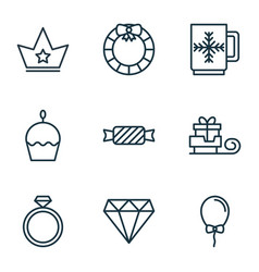 Set of 9 celebration icons includes garland vector